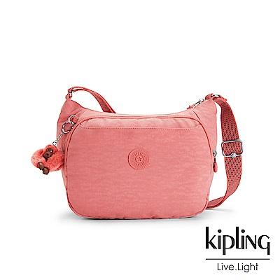Kipling微甜薔薇粉雙層側背包-CAI