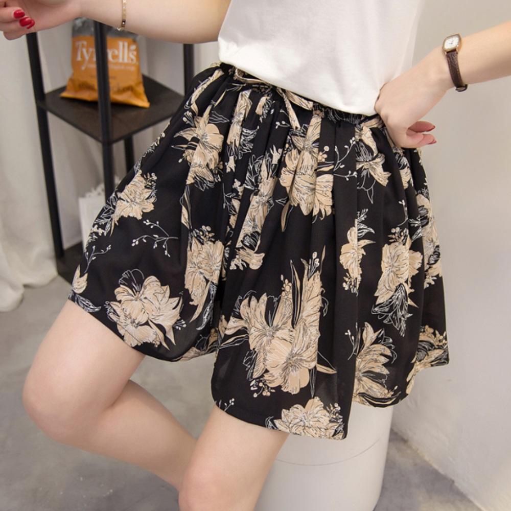 中大尺碼黑底杏色大花鬆緊腰抽繩棉麻紗褲裙XL~4L-Ballet Dolly