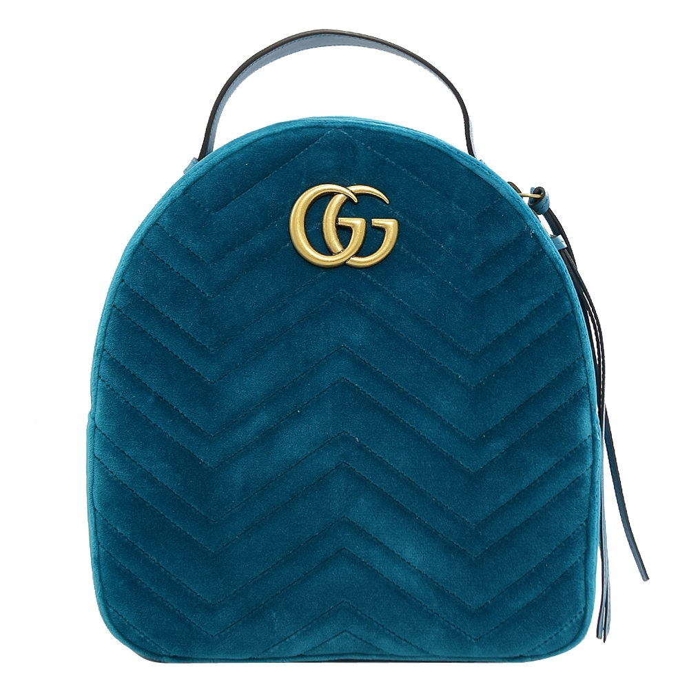 GUCCI Marmont GG LOGO車線絨布拉鍊後背包(藍)
