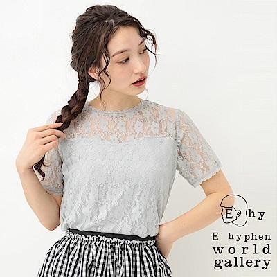 E hyphen 透膚蕾絲拼接設計圓領短袖上衣