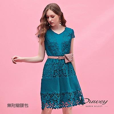 OUWEY歐薇 水溶蕾絲造型剪裁小蓋袖洋裝(綠)