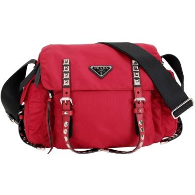 PRADA 鉚釘尼龍背帶 撞色斜背包(紅色)