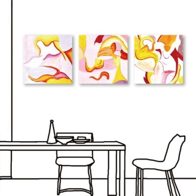 24mama掛畫-三聯式 油畫布 藝術 抽象 無框畫 50x50cm-融合