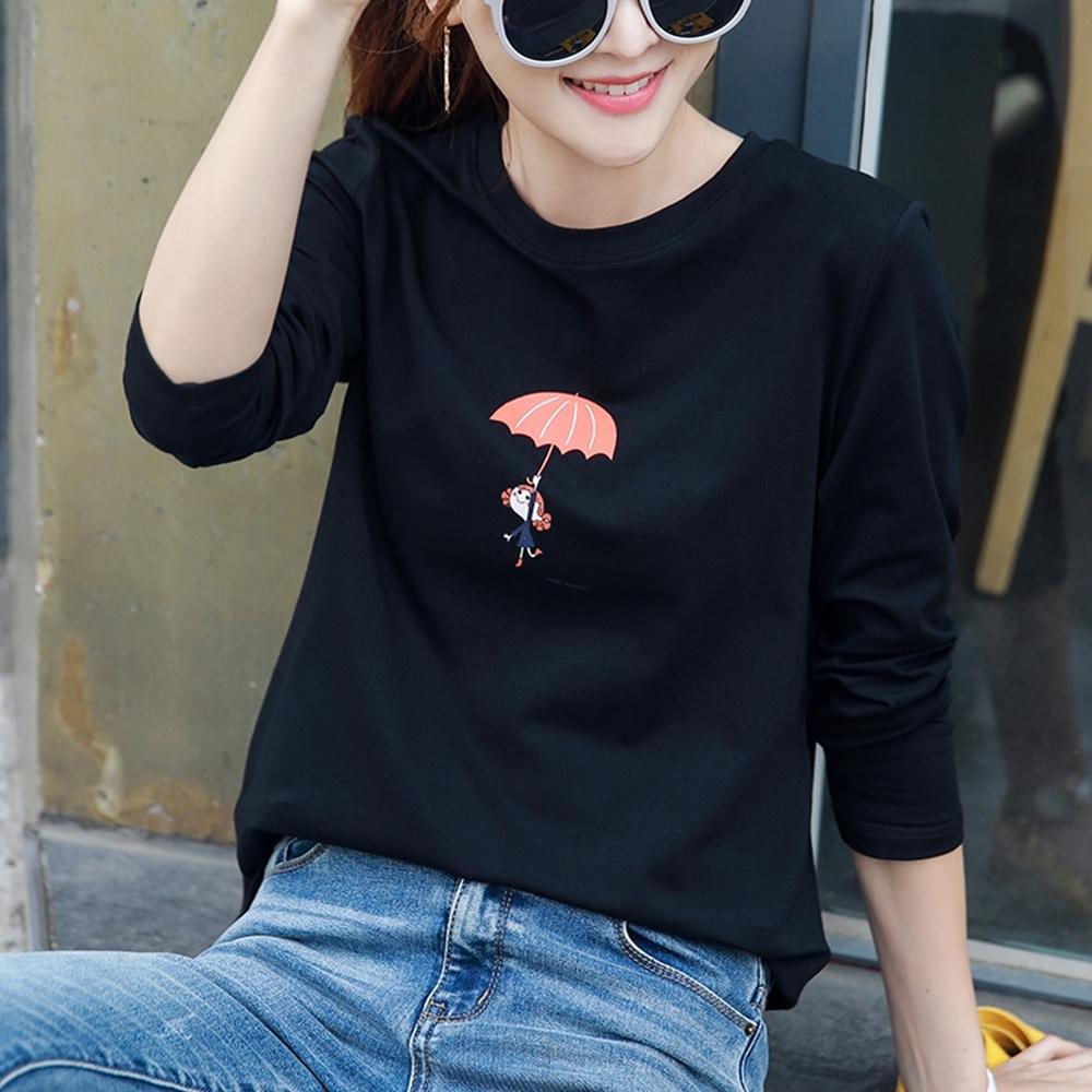 初色  雨傘女孩印花T恤-黑色-(M-2XL可選)