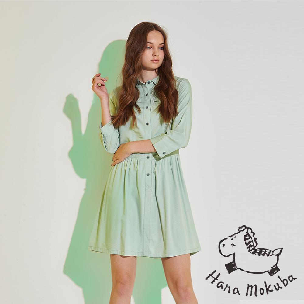 Hana+花木馬 無印簡約系100%棉製打摺造型襯衫洋裝-綠(共2色)