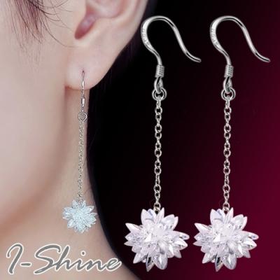 I-Shine-正白K-冰雨花-韓國垂墜流蘇立體冰花水晶造型銀色耳勾耳環DB52