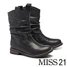 中筒靴 MISS 21 經典率性自然風抓皺羊皮粗低跟中筒靴-黑