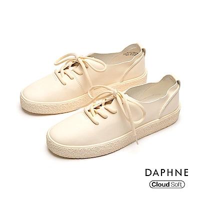 達芙妮DAPHNE 休閒鞋-輕盈簡約綁帶休閒鞋-米白
