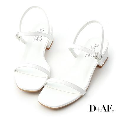 D+AF 氣質女孩.一字細帶方頭低跟涼鞋*白