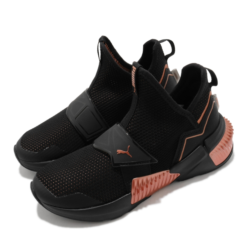 Puma 訓練鞋 Provoke XT Mid 女鞋 襪套 舒適 避震 健身房 運動 黑 金 19411101