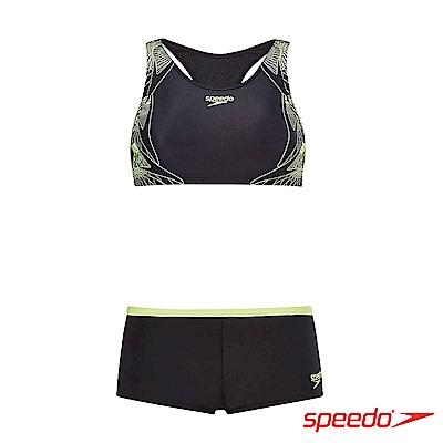 SPEEDO 女 運動兩截式泳裝 Boom Placement 黑/檸黃