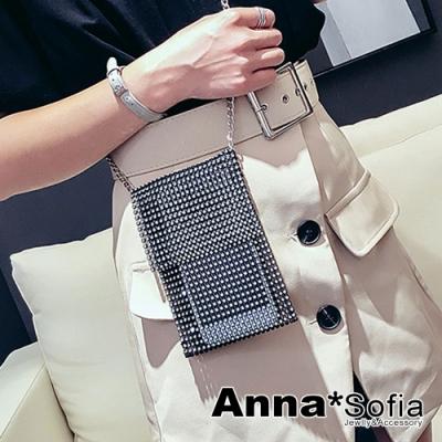 AnnaSofia 黑網滿鑽翻蓋 迷你隨身包手機包肩包斜背包(黑系)