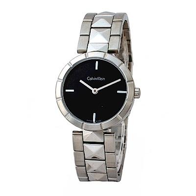 Calvin Klein ck edge 切割菱紋腕錶-黑色/30mm