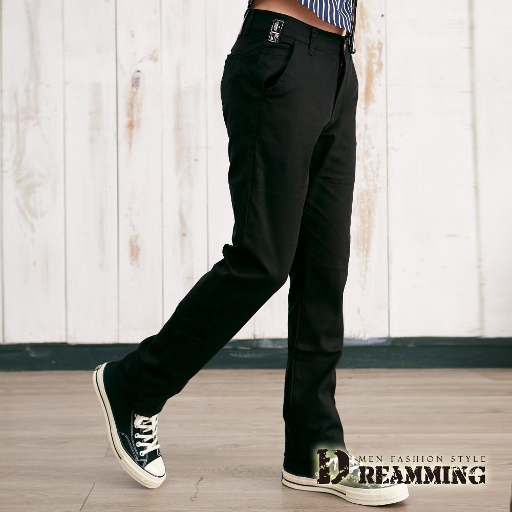 Dreamming 日系布標伸縮小直筒休閒長褲-共二色 (黑色)
