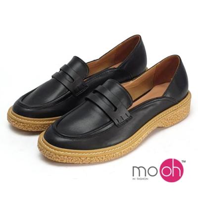 mo.oh設計感拼色膠底樂福鞋-黑色