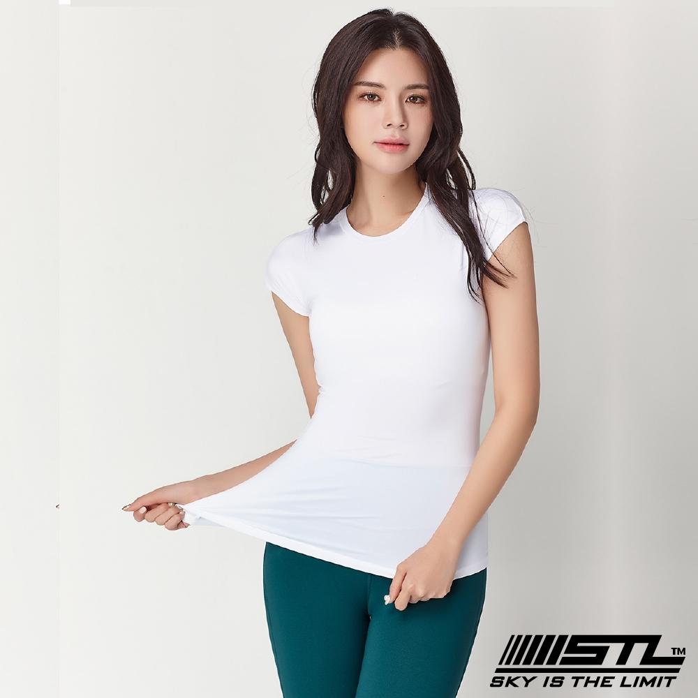 STL Essence Stretch Volume 韓國無肩線短袖機能素色上衣 本質伸展白