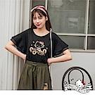 音樂Kitty印圖高含棉層次荷葉袖上衣-OB嚴選