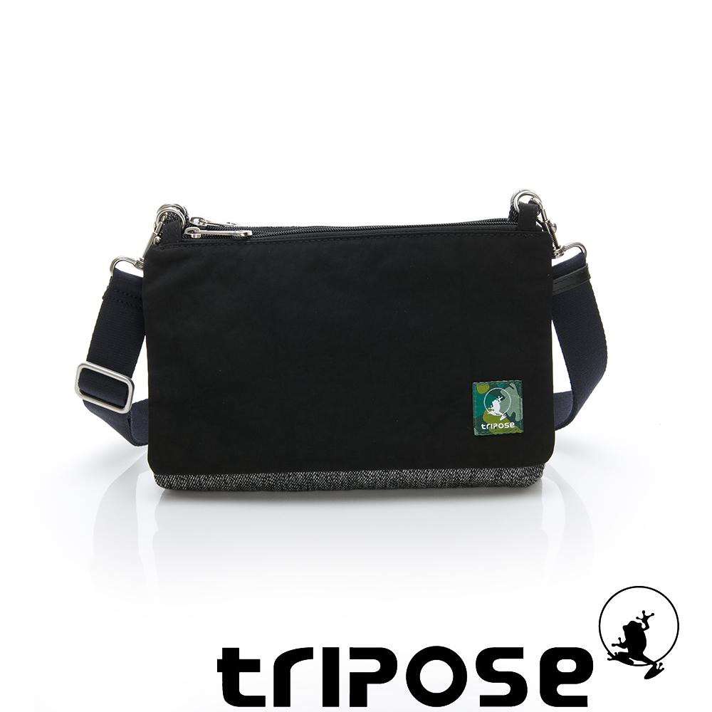 tripose MAJI系列黑岩紋x潮感黑多變斜背包