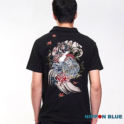 日本藍 BLUE WAY 【進口金標】五輪風之卷藝妓雄鷹POLO衫(黑)