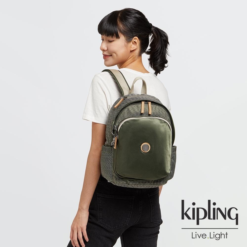 Kipling 沉穩質感綠上方拉鍊後背包-DELIA