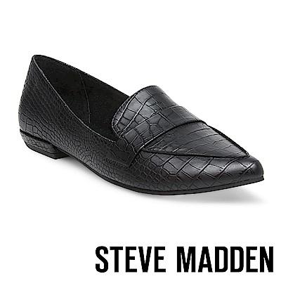 STEVE MADDEN-CARVER-麂皮尖頭百搭樂福鞋-黑色