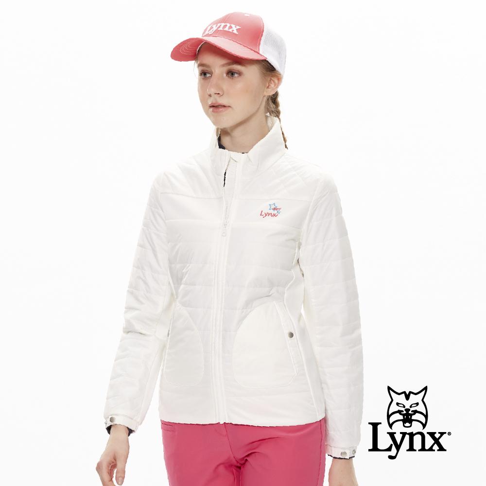 【Lynx Golf】女款橫條鋪棉立領口袋造型長袖外套-牙白色