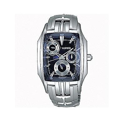 WIRED 星際戰警三眼日曆腕錶(5Y67-X006A)-藍/43mm