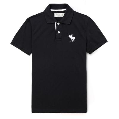 A&F 麋鹿 經典標誌刺繡大麋鹿 短袖POLO衫-黑色