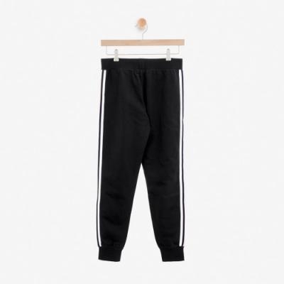 女裝ROOTS- 飾邊縮口毛圈布休閒棉褲-黑色