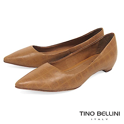 Tino Bellini 巴西進口細緻皮紋舒足低跟鞋_棕