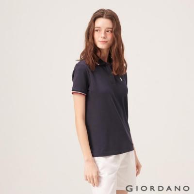 GIORDANO 女裝企鵝刺繡彈力萊卡POLO衫-66 標誌海軍藍