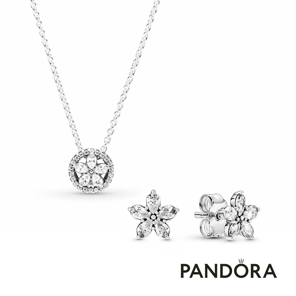 【Pandora官方直營】璀璨雪花套組-耳環+項鏈