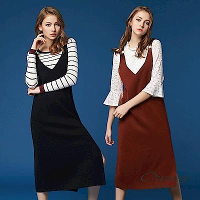 OUWEY歐薇 率性V領吊帶針織洋裝(黑/咖)
