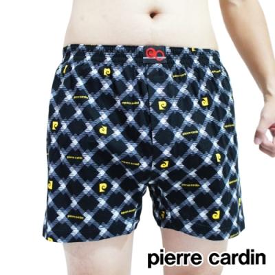 男內褲 皮爾卡登 100%精梳棉彈性印花四角褲-單件(黃菱格)