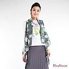 KeyWear奇威名品    和風圓圈花卉創意開襟背心-綜合色