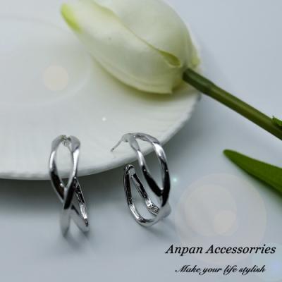 【ANPAN愛扮】韓東大門幾何交叉環圈925銀針耳釘式耳環