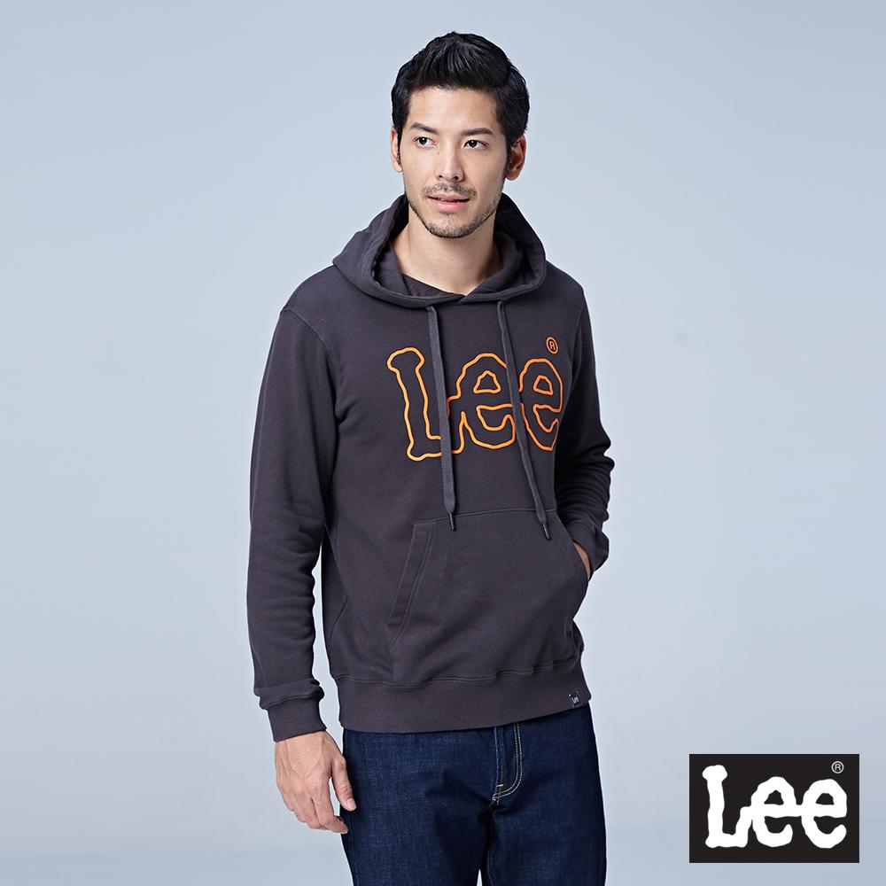 Lee 大LOGO連帽厚TEE-深灰色