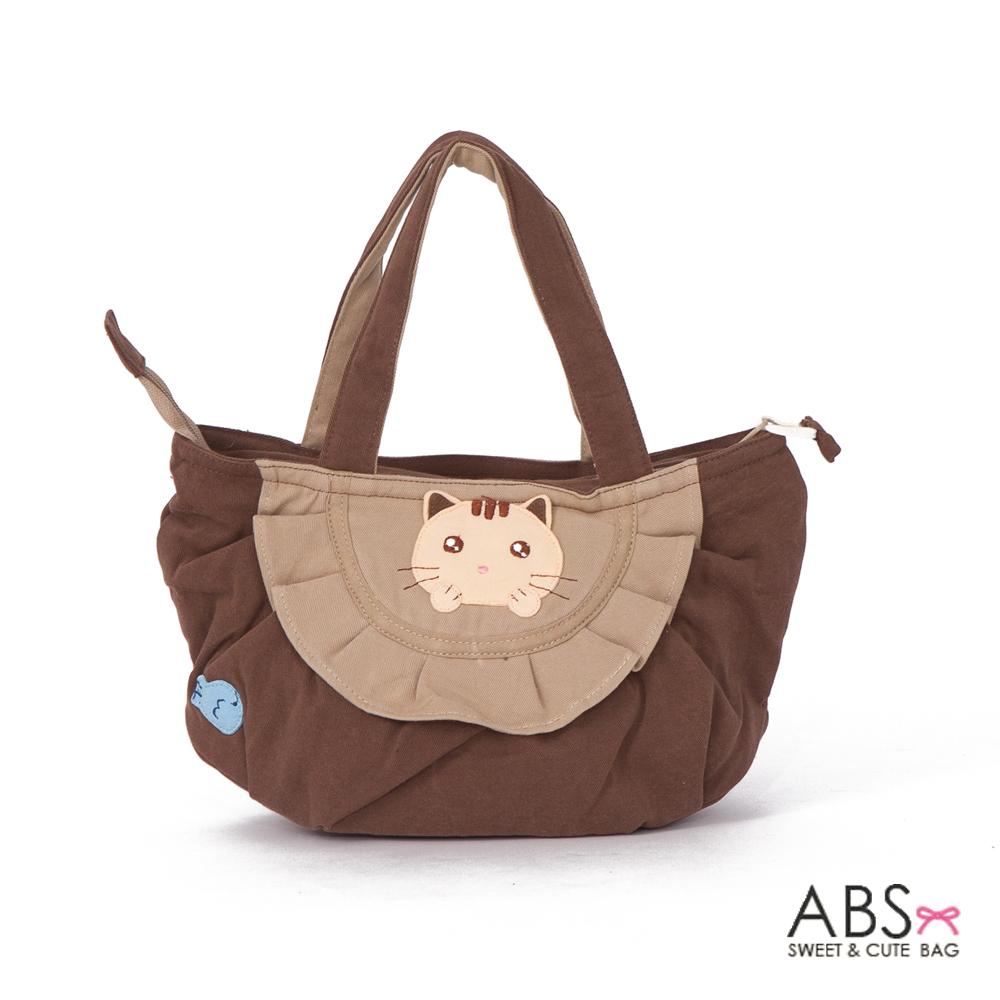 ABS貝斯貓 可愛小魚趴趴貓布包小提袋(咖啡)88-115