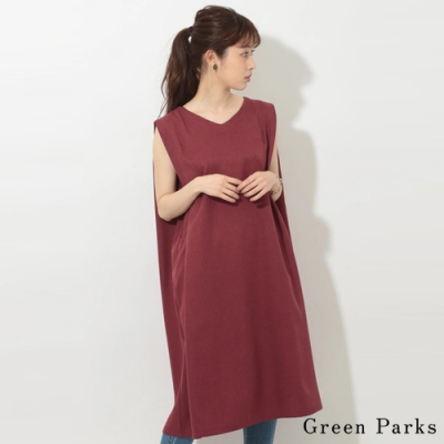 Green Parks 俐落無袖V領後打褶連身裙