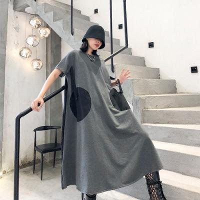 雙大口袋印花寬鬆顯瘦洋裝-F(共三色)-CLORI