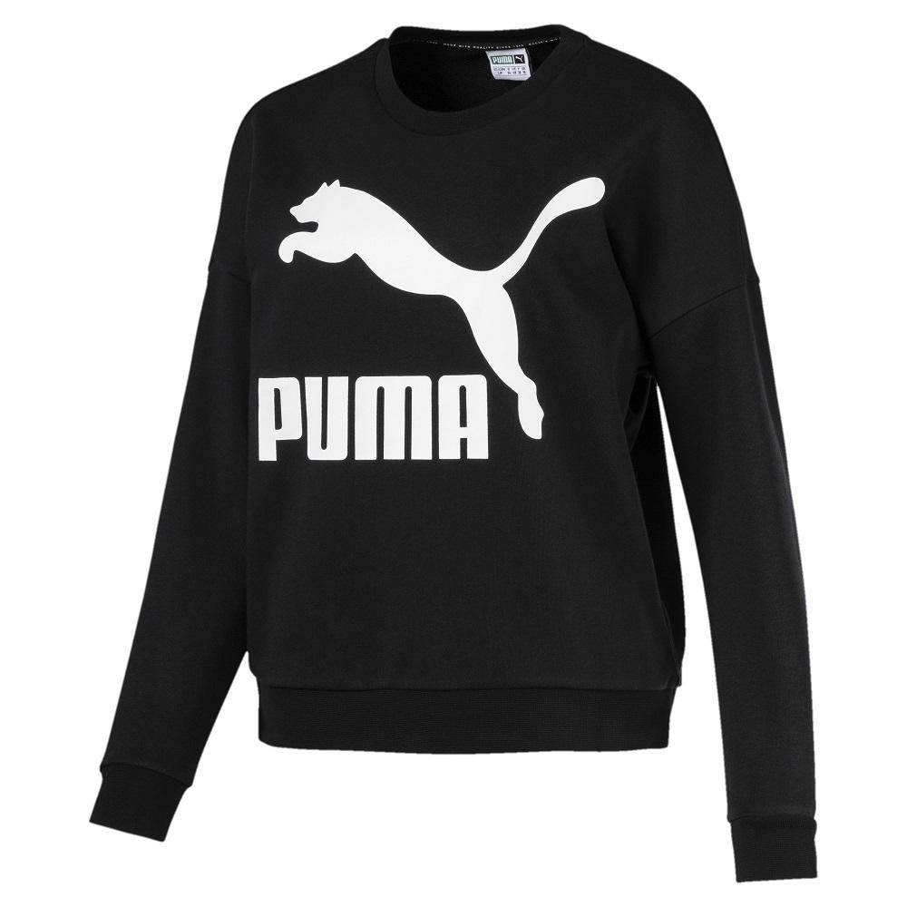PUMA-女性流行系列No.1 Logo圓領衫-黑色-亞規