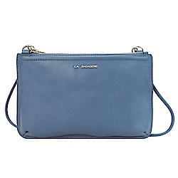 LA BAGAGERIE CLUTCH皮革鍊帶扁斜背包(灰藍)