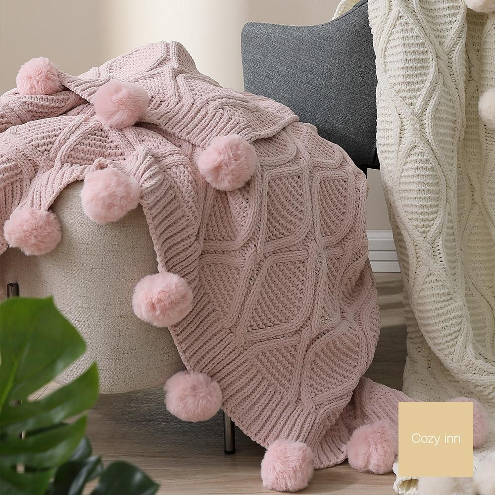 Cozy inn 簡約北歐雪尼爾球球毯-粉