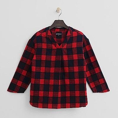 Hang Ten - 女裝 - 經典格紋V領襯衫-紅