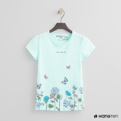 Hang Ten -童裝 - 有機棉-可愛花園圖樣短袖T - 綠