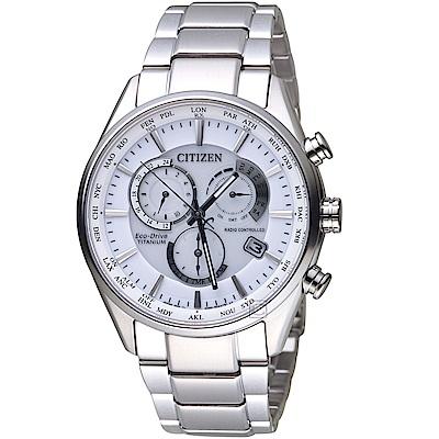 (無卡分期12期)CITIZEN 星辰時尚電波對時鈦限量腕錶(CB5020-87A)-白色