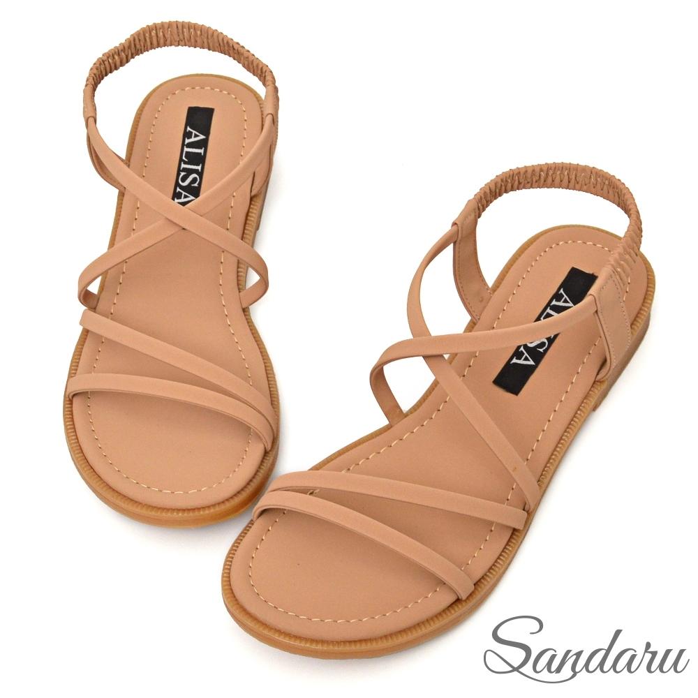 山打努SANDARU-涼鞋 質感霧面交叉線條鬆緊平底涼鞋-卡其 (卡其)