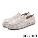 HANNFORT COZY可機洗平織布後踩氣墊鞋-男-條紋米