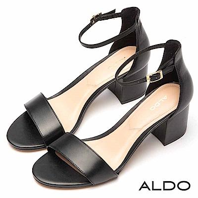 ALDO復古原色真皮一字繫帶露趾跟鞋~尊爵黑色
