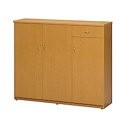 文創集 蘿倫環保4.1尺塑鋼三門單抽鞋櫃(五色)-122x36.5x106cm-免組
